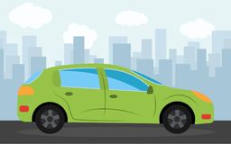 Green sports car in the background of skyscrapers in the afternoon. Vector illustration Stock Images