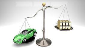 Green sports car on a scale against a stack of gold bars symbolizes expensive shopping, overpaying for goods, rip off, luxury. Overpriced goods lead to excessive Royalty Free Stock Photo