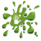 Green spots with a hand Stock Photography