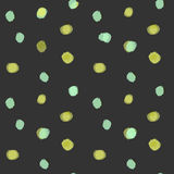 Green spots vector background. Abstract seamless pattern with green spots on dark background Royalty Free Stock Photo