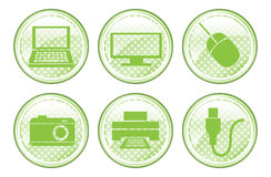 Green Spotted Device Buttons Royalty Free Stock Image