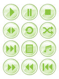 Green Spotted Media Buttons. A set of 12 glossy media buttons Royalty Free Illustration
