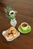 Green spotty mug and cookies Royalty Free Stock Photo