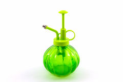 Green spray bottle. Royalty Free Stock Images