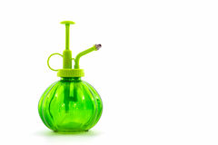 Green spray bottle. Royalty Free Stock Photo