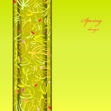 Green sprig background. Abstract spring summer floral background. Green yellow spring twigs elegant ornament green background. Vertical border stripe sprig Stock Image
