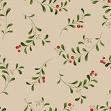Green sprig with red berries seamless Christmas. Background. Vector illustration Stock Photography