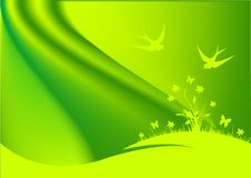 Green Spring Background. A green field background with flowers, butterflies and birds Royalty Free Stock Photos