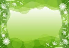 Green spring background with fine mirror floral motif Royalty Free Stock Photography