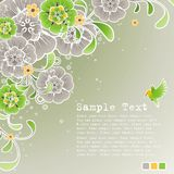 Green spring background with floral ornament