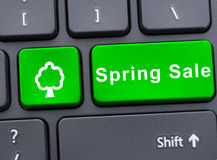 Green spring button with tree symbol Stock Photos