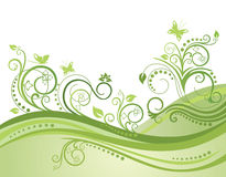 Green spring field, flowers and butterflies. Vector illustration Royalty Free Stock Photography