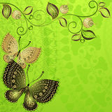 Green spring vintage floral frame. Green spring floral frame with vintage butterflies (vector EPS 10 Royalty Free Stock Photos