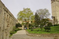 Green spring garden outside Diocletian's Palace. Split, Croatia royalty free stock image