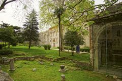 Green spring garden outside Diocletian's Palace. Split, Croatia royalty free stock images