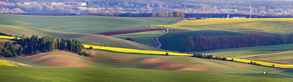 Green spring hills. Arable lands in Czech Moravia. April Stock Photos