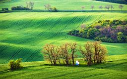 Chapel in arable lands. Green spring hills. Rolling spring fields. Chapel in arable lands of Czech Moravia Royalty Free Stock Photography