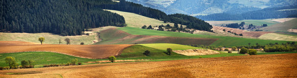 Green spring hills in Slovakia. April sunny countryside panorama Royalty Free Stock Photos