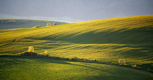 Green spring hills of Slovakia. May sunny countryside. Fields Stock Photography