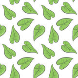 Green spring leaves seamless pattern. Vector illustration Stock Photos