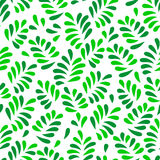 Green spring leaves seamless pattern on white, vector Stock Photo