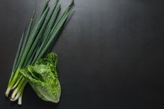Green spring onions with napa cabbage. Bunch of green spring onions or scallions and napa cabbage on a black background stock images