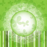 Green spring round floral frame. Green spring round frame with strips and butterflies (vector EPS 10 Royalty Free Stock Photos