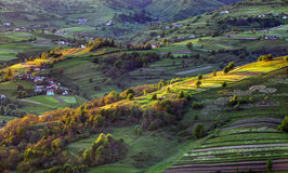 Green spring rural hill landscape, Slovakia. Green spring rural hills landscape, Slovakia Royalty Free Stock Photo