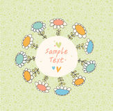 Green spring seamless banner with drawn flowers and place for text  Pattern above frame is complete and seamless Royalty Free Stock Photography