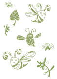 Green spring set with bee, fly and leafs Royalty Free Stock Photos