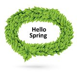 Green spring speech bubble of leaves Stock Photo