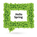 Green spring speech bubble of leaves Stock Photos