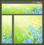 Green banners set with flowers and blurred sunrays. Green spring or summer banners set with blue flowers and blurred sun rays. Collection of square, horizontal Stock Image
