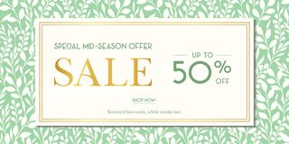 Free Green Spring Summer Foliage Silhouettes Sale Promotion Horizontal Banner. Social Media Ads. Abstract Floral Print Royalty Free Stock Images - 149054099
