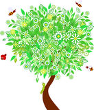 Green Spring Tree Illustration, Insects Illustrations. White and yellow flowers spring green tree illustration, green leaves, bee illustrations, ladybug Royalty Free Stock Photo
