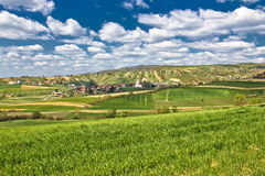 Green springtime landscape in Croatian village. Beautiful green springtime landscape in Croatian village, Kalnik, Croatia Royalty Free Stock Photography