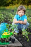 Green Sprout. And Children Hands Stock Photography