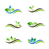 Green Sprout Landscape Icon or Logo Design Set Royalty Free Stock Photography