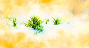 Green sprout on snow. symbol of symbol of spring and softly blurred watercolor background. Green sprout on snow. symbol of symbol of spring and softly blurred Stock Photography