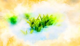 Green sprout on snow. symbol of symbol of spring and softly blurred watercolor background. Green sprout on snow. symbol of symbol of spring and softly blurred Stock Images