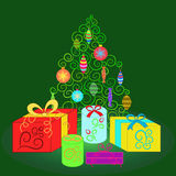 Green spruce with Christmas decorations surrounded by boxes.Vector illustration Royalty Free Stock Images