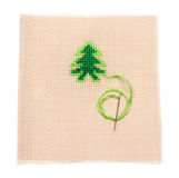 Green spruce on fabrics, needle Stock Photo
