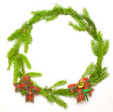 Green spruce frame with decoration Stock Photography