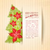 Green spruce made of red poinsettia. Vector illustration Stock Images