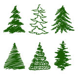 Green spruce. Set of silhouettes of Christmas trees. vector illustration Stock Photos