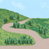 Green spruce tree painting background illustration Stock Photos