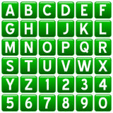 Green Square Alphabet Buttons. Green square alphabet & numbers buttons isolated on white background. Each button is 750x750 pixels Royalty Free Stock Photography