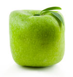 Green Square apple. Gregreen Square apple on a white background Stock Photo