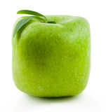 Green Square apple. Gregreen Square apple on a white background Stock Photos