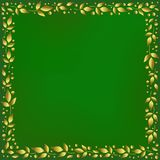 Green square background stylized as velvet with decorative frame of golden leaves and dots